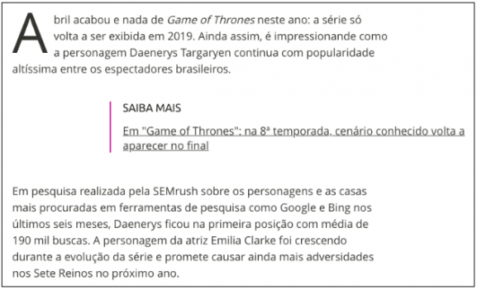 SEMrush game of thrones