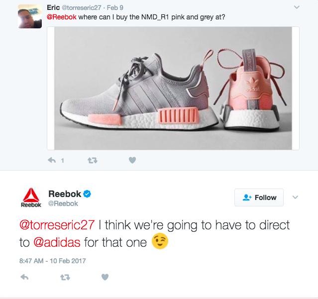 Tweet réponse de Reebook