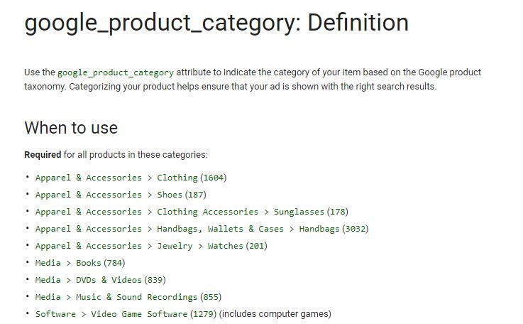 No Google categories or wrong category names