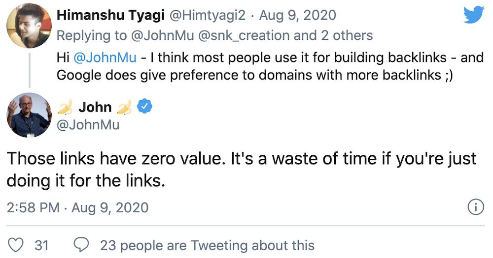 John Mu Tweet on blog links