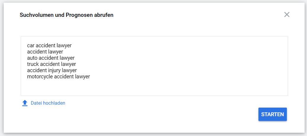 Google Ads Keyword-Planer: Liste von Keywords eingeben