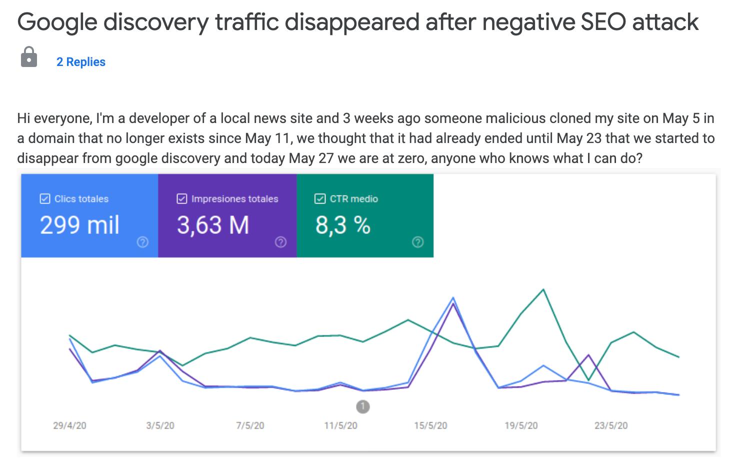 google discovert traffic negative seo
