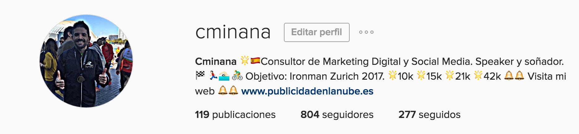 Perfil en Instagram de Carlos Miñana
