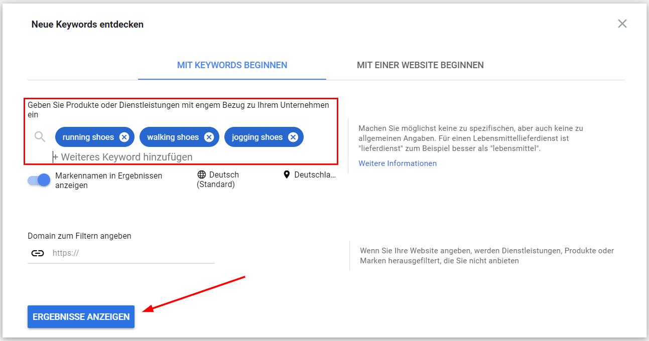 Google Ads Keyword-Planer: Keywordeingabe