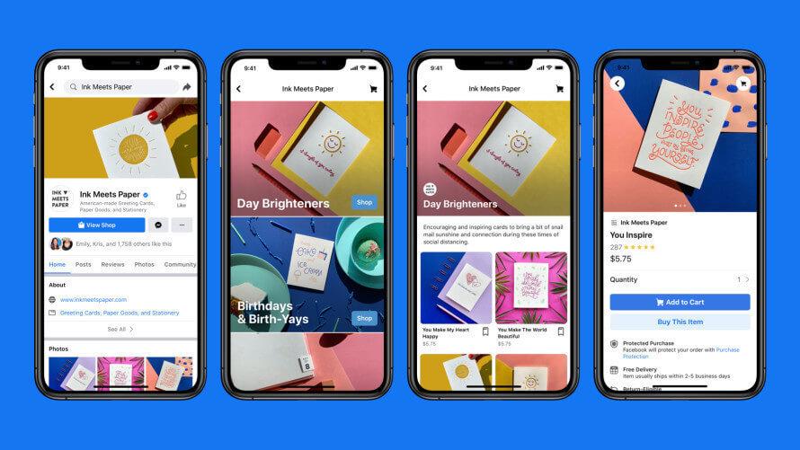 nuova funzionalità: Facebook shops per vendere online