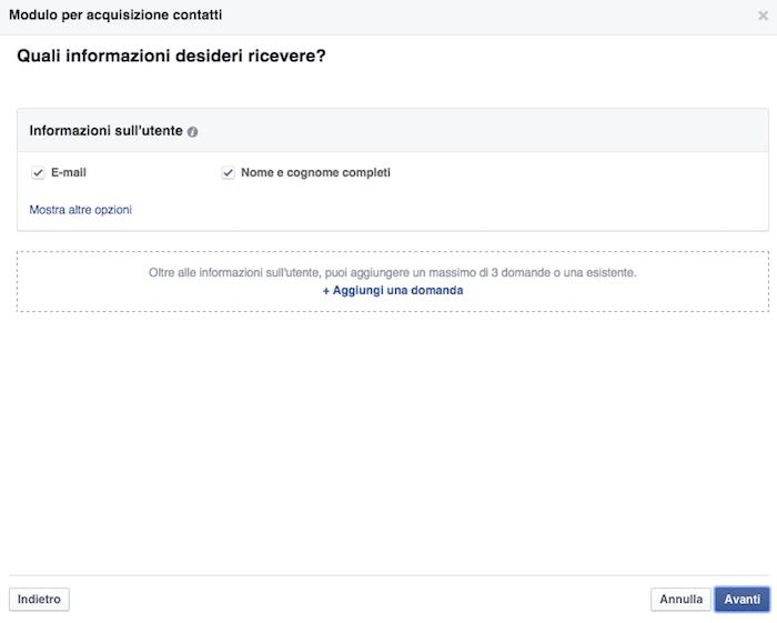 Scelta campi per form celiachia in Facebook Leads
