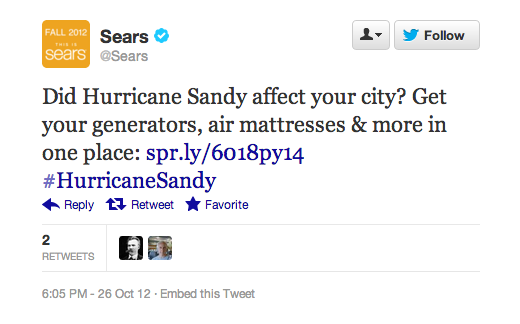 Sears tweet - 5 tendances du content marketing en 2020