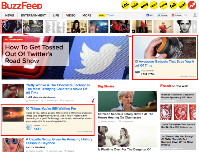 Native Advertising Example from Buzzfeed
