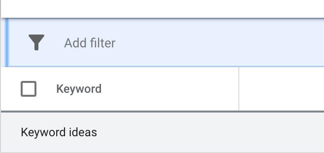 keyword planner add filter option