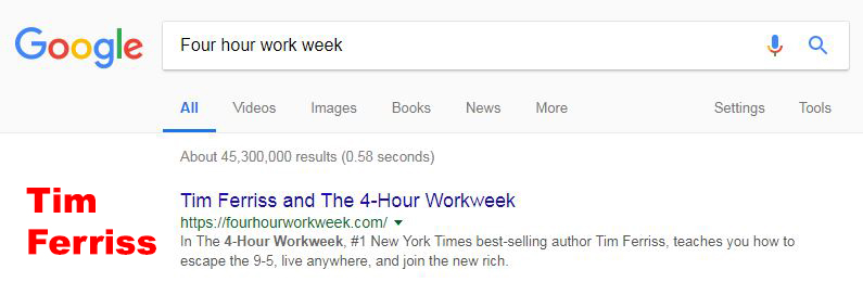 Tim Ferriss ranking for the four hour work week