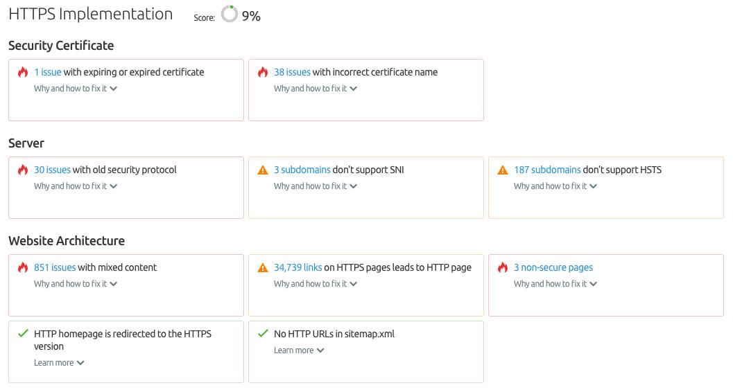 SEMrush Site Audit HTTPS implementation report