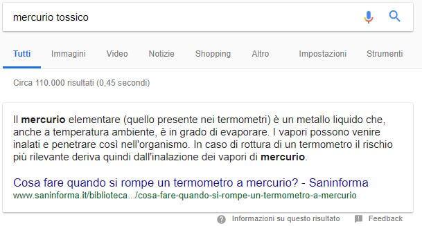 Come funziona il motore di ricerca semantico: SERP mercurio tossico