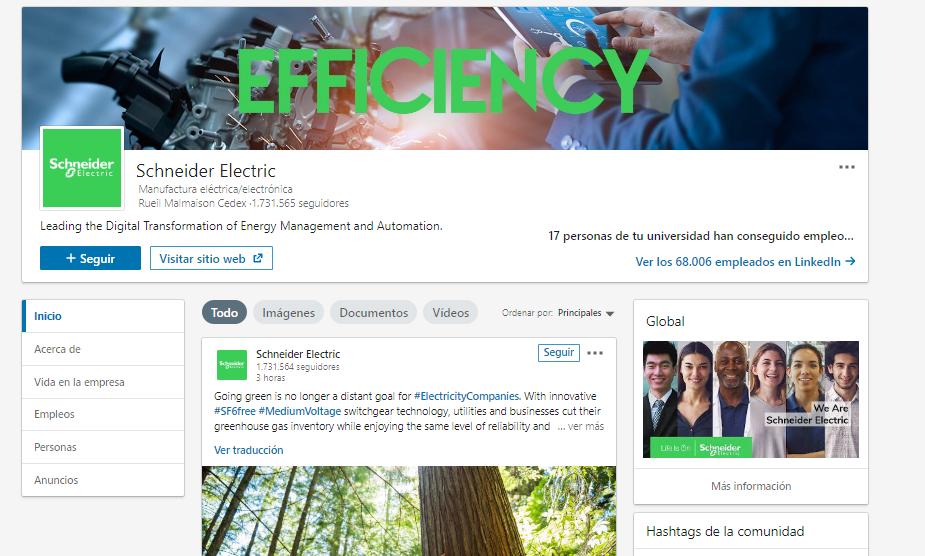 Páginas de empresa en LinkedIn - Ejemplo Scheneider