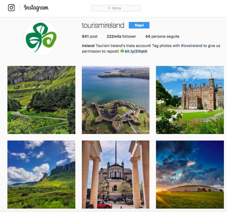 L'ispirazione nell'account Instagram di Tourismireland