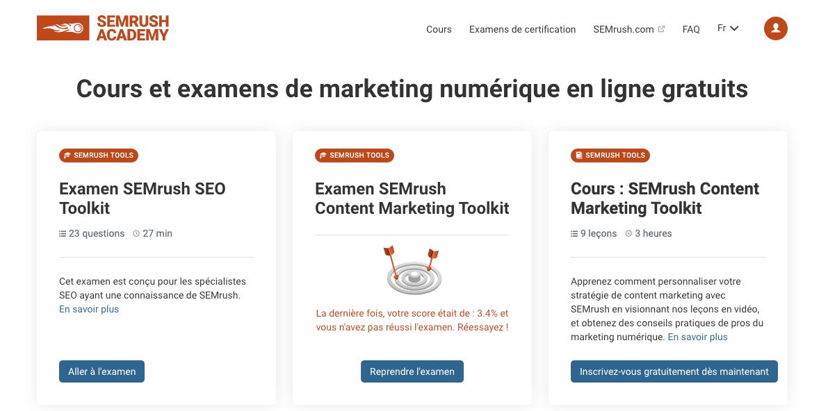 Académie SEMrush en français