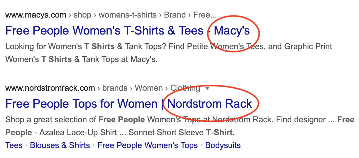 Example of brand names in title tags
