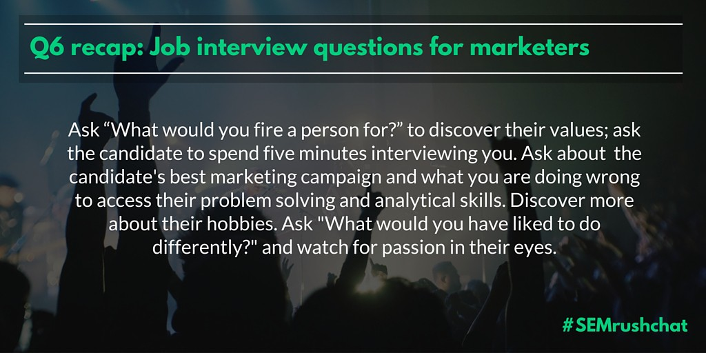Job interview questions for marketers