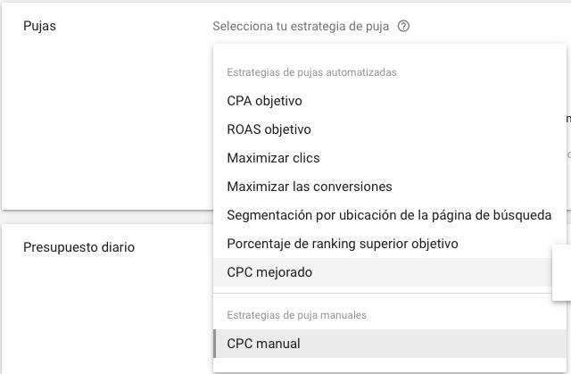 Anuncios dinámicos de búsqueda - Estrategia de puja - Maximizar clics