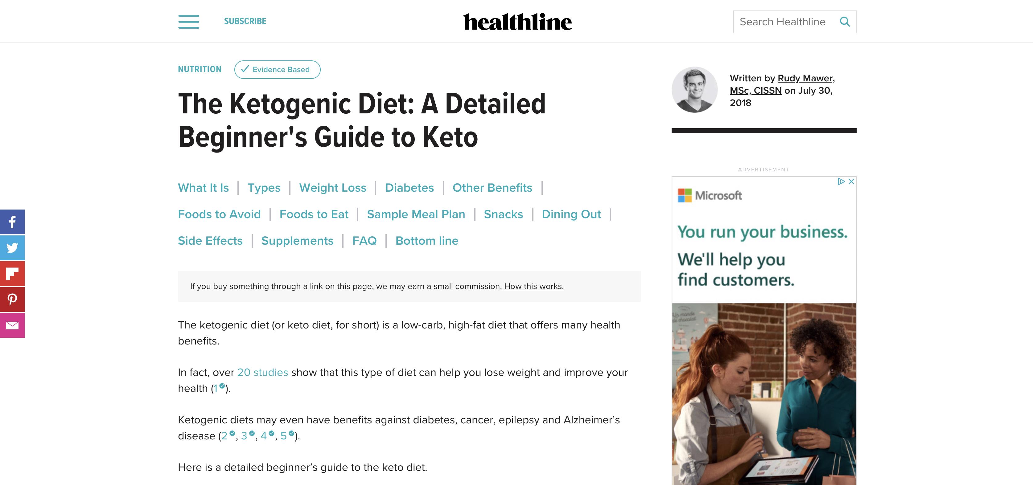 healthline keto diet content screenshot
