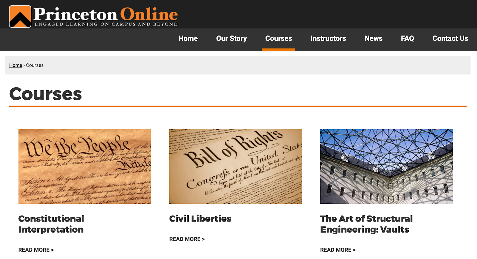 Online courses page