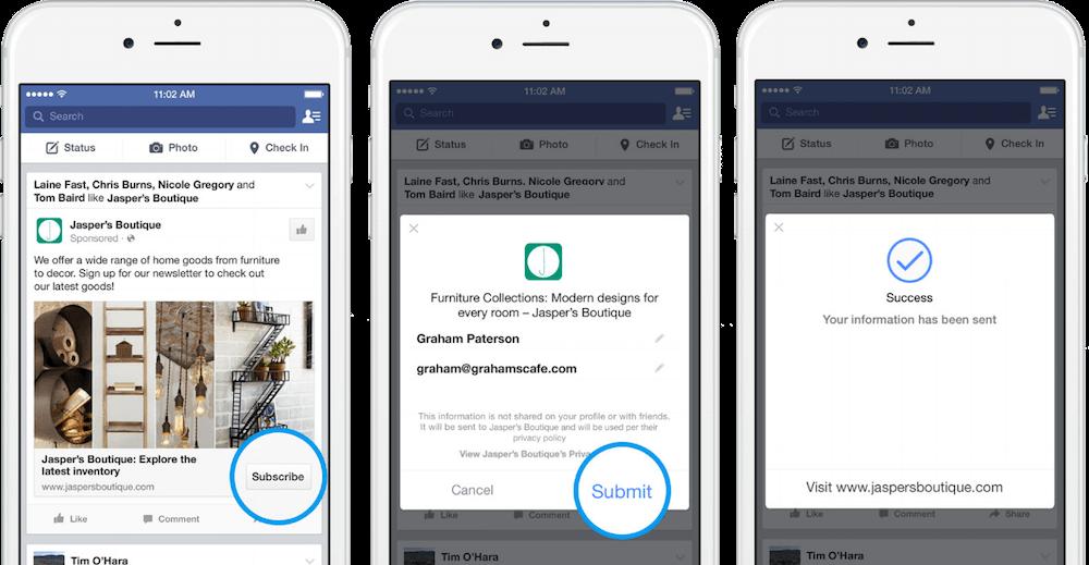 esempio inserzione facebook per raccogliere lead