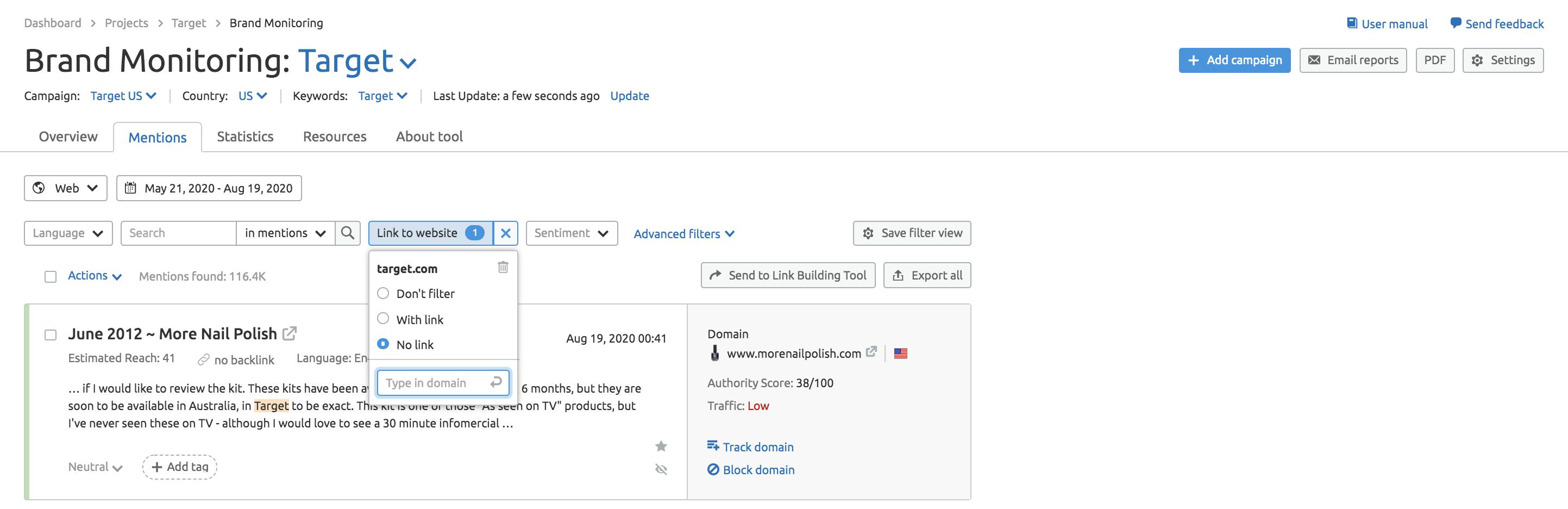 SEMrush Brand Monitoring Tool Screenshot