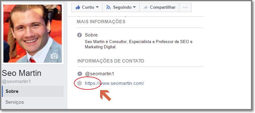 atualize o url do site em todos os perfis sociais, exemplo de uma página no Facebook