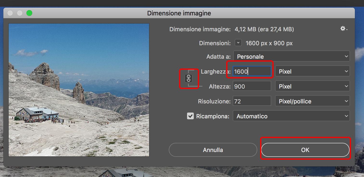 Ottimizzazione SEO: Photoshop - dimensione immagine