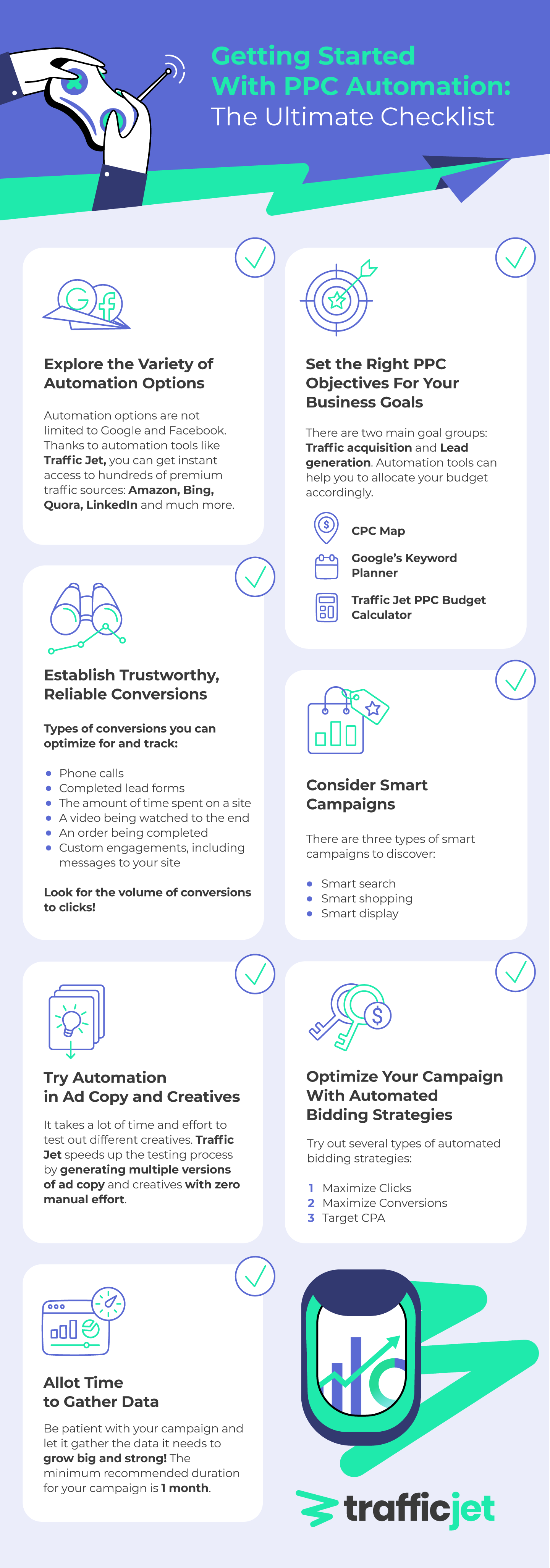 Infographics with a checklist on getting started with PPC automation