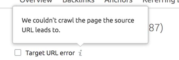 Target URL error screenshot