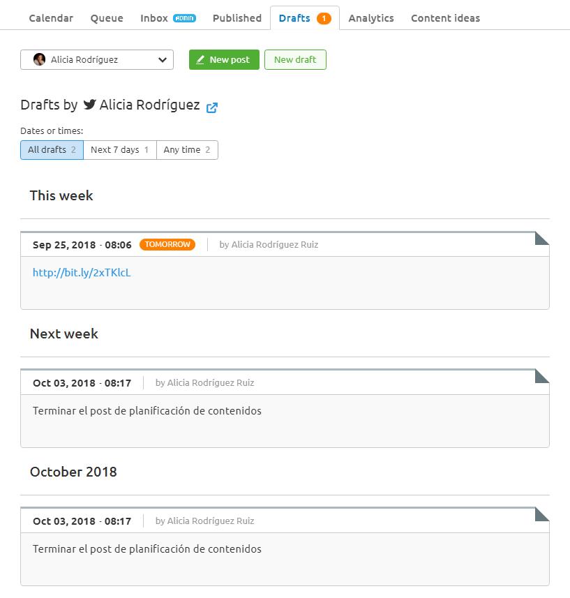 Planificación de contenidos en redes sociales - Borrador