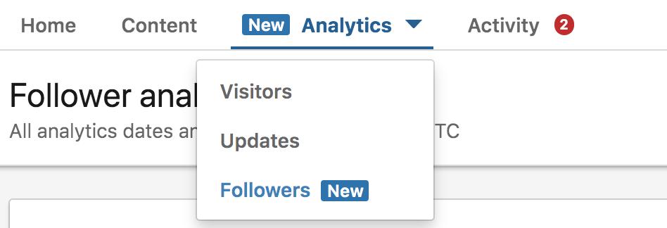linkedin followers tab
