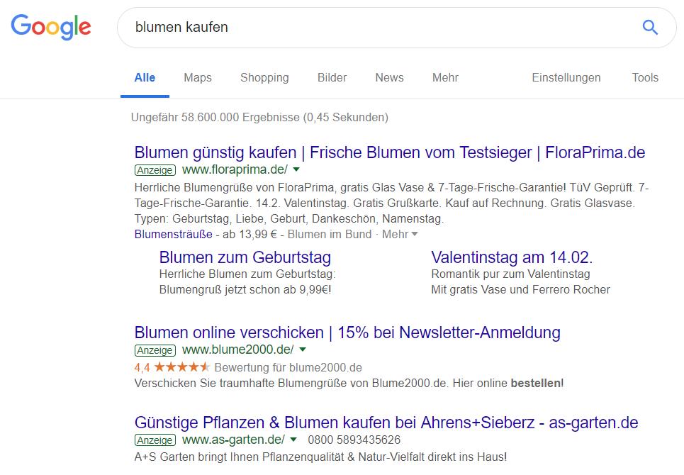 Top-3-Suchergebnis-Anzeigen für 'Blumen kaufen'