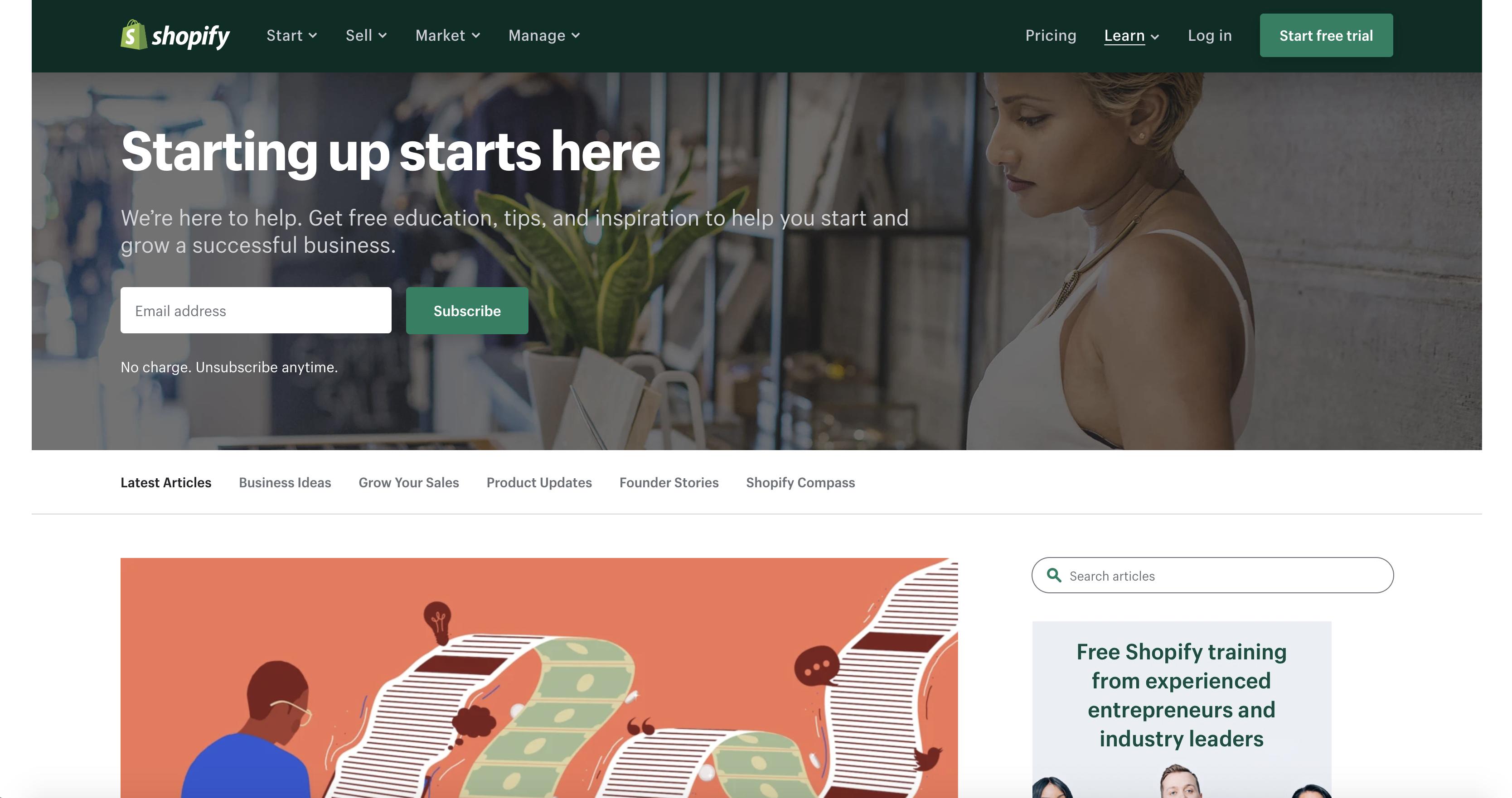 Shopify blog screenshot