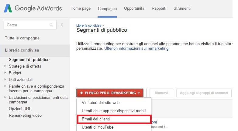 Come caricare la tua lista email in una campagna AdWords