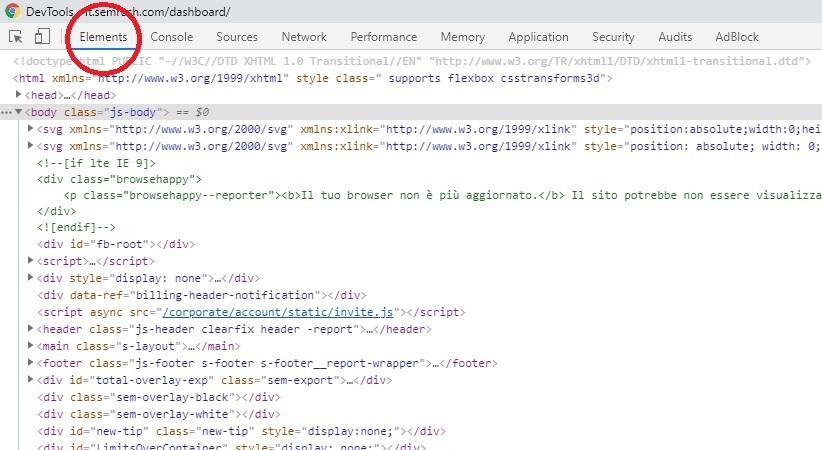 come visualizzare il Dom (l'html modificato con Javascript)