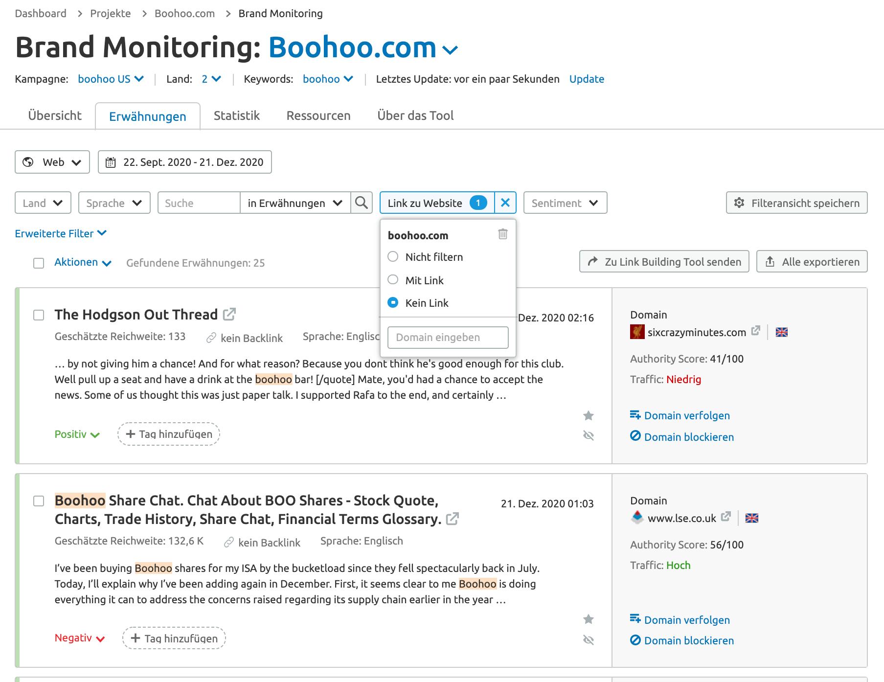 SEMrush Brand Monitoring zum Finden von Links Beispiel