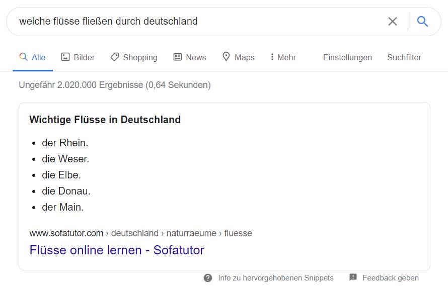 Eine Liste im Google-Suchergebnis