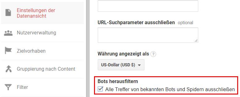 Bots herausfiltern in Google Analytics