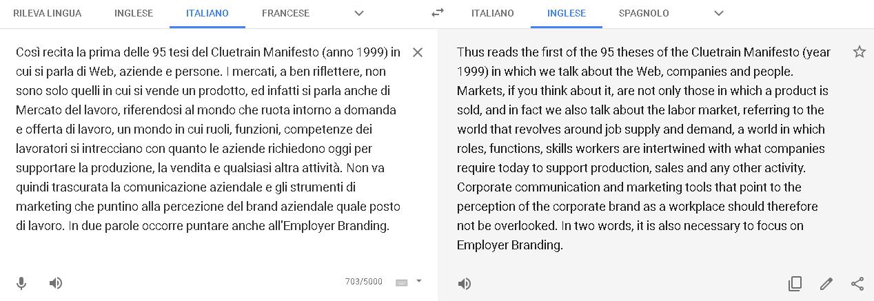 Testo da Italiano a Inglese