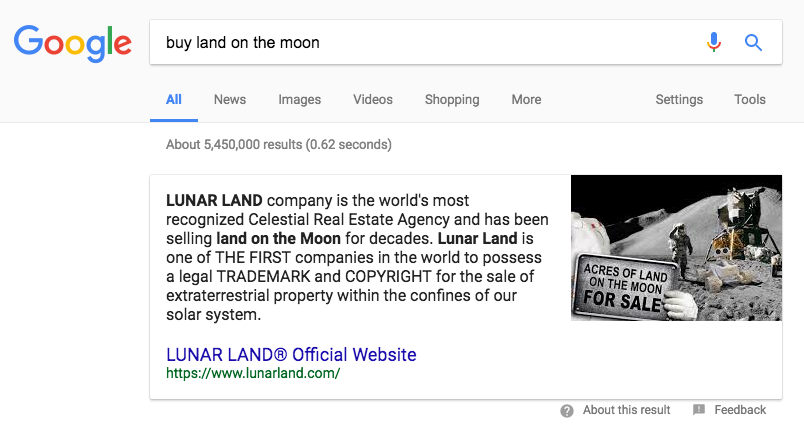 Featured Snippet Buy land on the moon