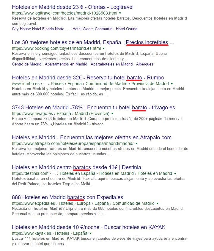 Intención de búsqueda en Google.es: hotel en madrid