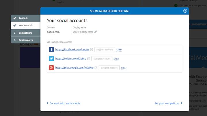 Social media tool: impostare gli account da analizzare