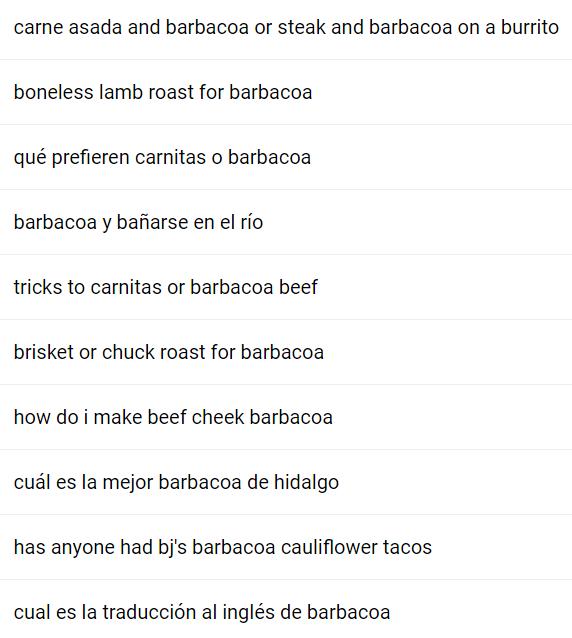 Herramientas de palabras clave - QuestionDB Barbacoa