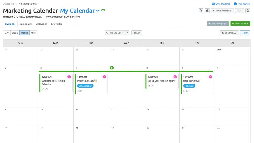 Calendario de Marketing - Crear calendario