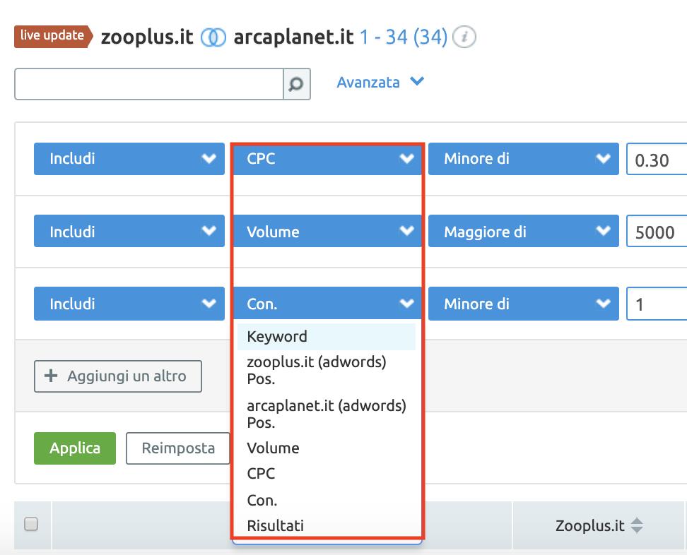 filtra i risultati delle keyword a pagamento dei tuoi competitor