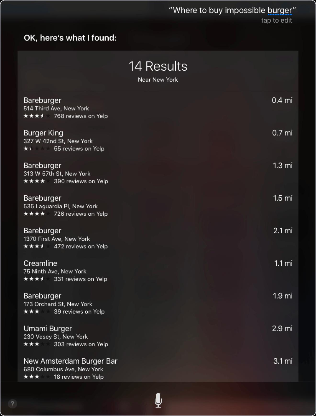Screenshot: Siri-Suchergebnis für Wo-Frage