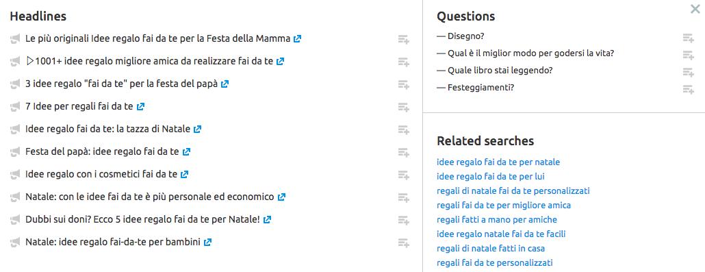 Ottimo strumento per i blogger: le card dettagliate di Topic Research