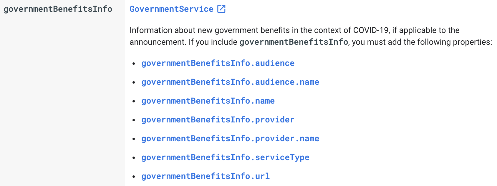 Google's breakdown of government benefit schema options