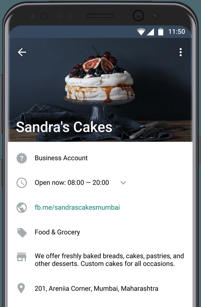 la pagina profilo su whatsapp business